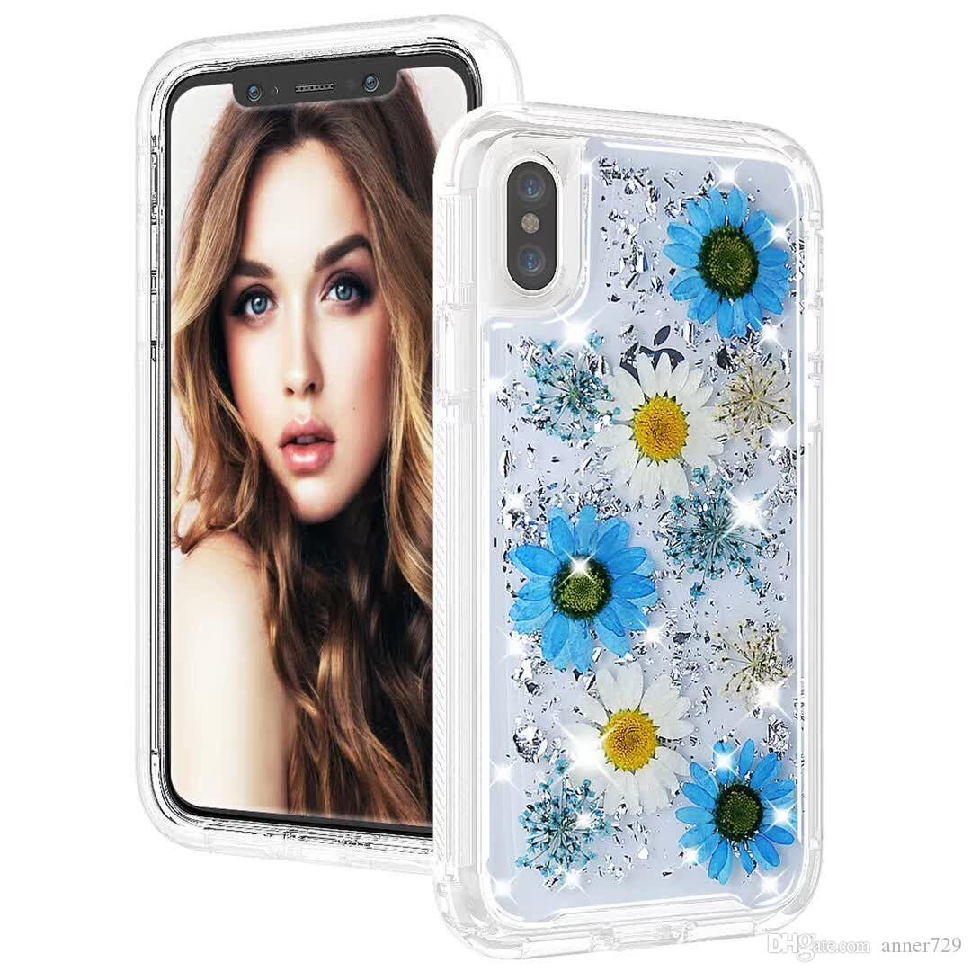 Defender Case with Real Flower 3 in 1 For iPhone X Bling Glitter Flower Floral robot Cell Phone Case Cover For Samsung S9 Plus