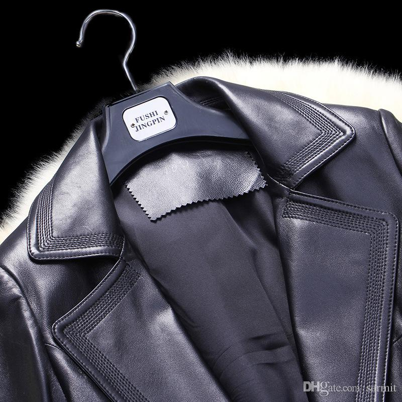 Real Sheepskin Women X-Long Leather Coat Jacket Top Quality with Waist Belt F492 Black Elegant Leather Trench Coat