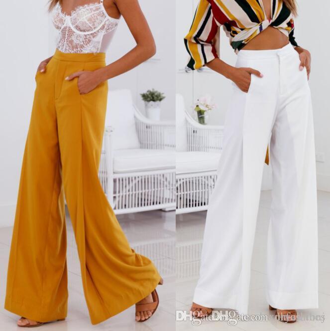 4b46e09ce09e6 Acheter Pantalon Large Pour Femmes Confortable Blanc Jaune Taille Haute  Pantalon Long Décontracté Décontracté Vestidoes Pantalones De $31.87 Du  Dhfashionj ...