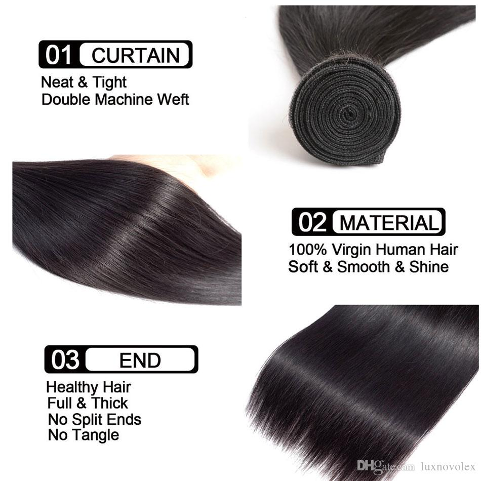 Peruvian Human Hair Bundles With Frontal Closure Straight Bundles With 13X4 Lace Frontal Brazilian Virgin Hair Natural Color Wholesale