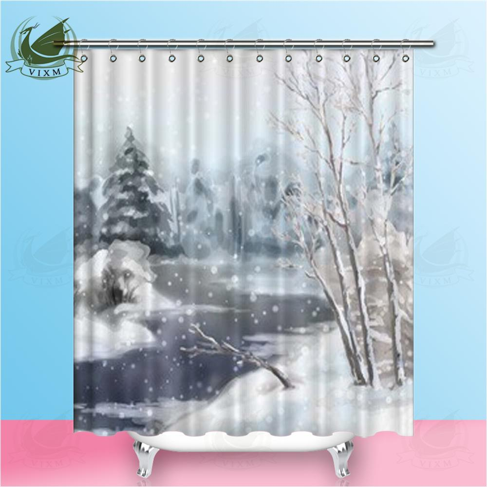 2019 Vixm Home Art Winter Watercolor Landscape Fabric Shower Curtain Snowy Frozen Tree Bath For Bathroom With Hook Rings 72 X From Bestory