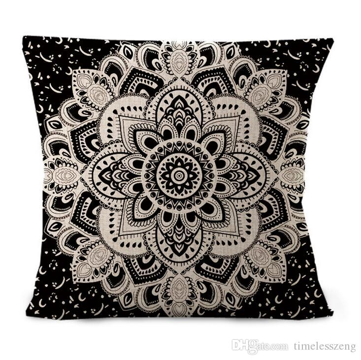 Bohemian mandala pillow case 45*45cm printed pillow cover cotton and linen sofa cushion cover car waist pillowcase