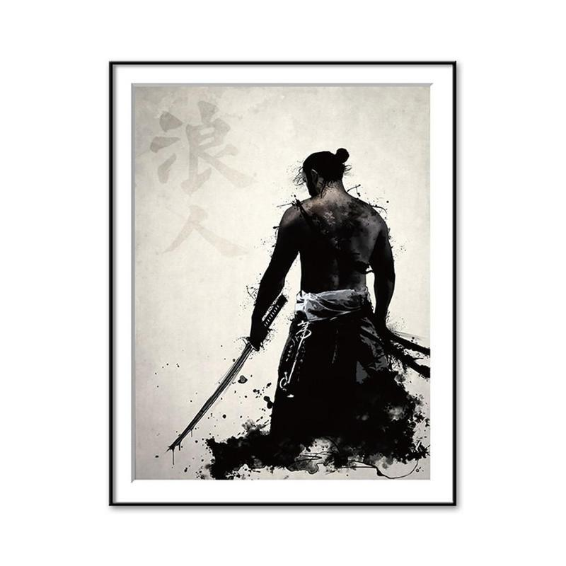 Japanese Samurai Wall Art Oil Painting Home Decor Living Room ...