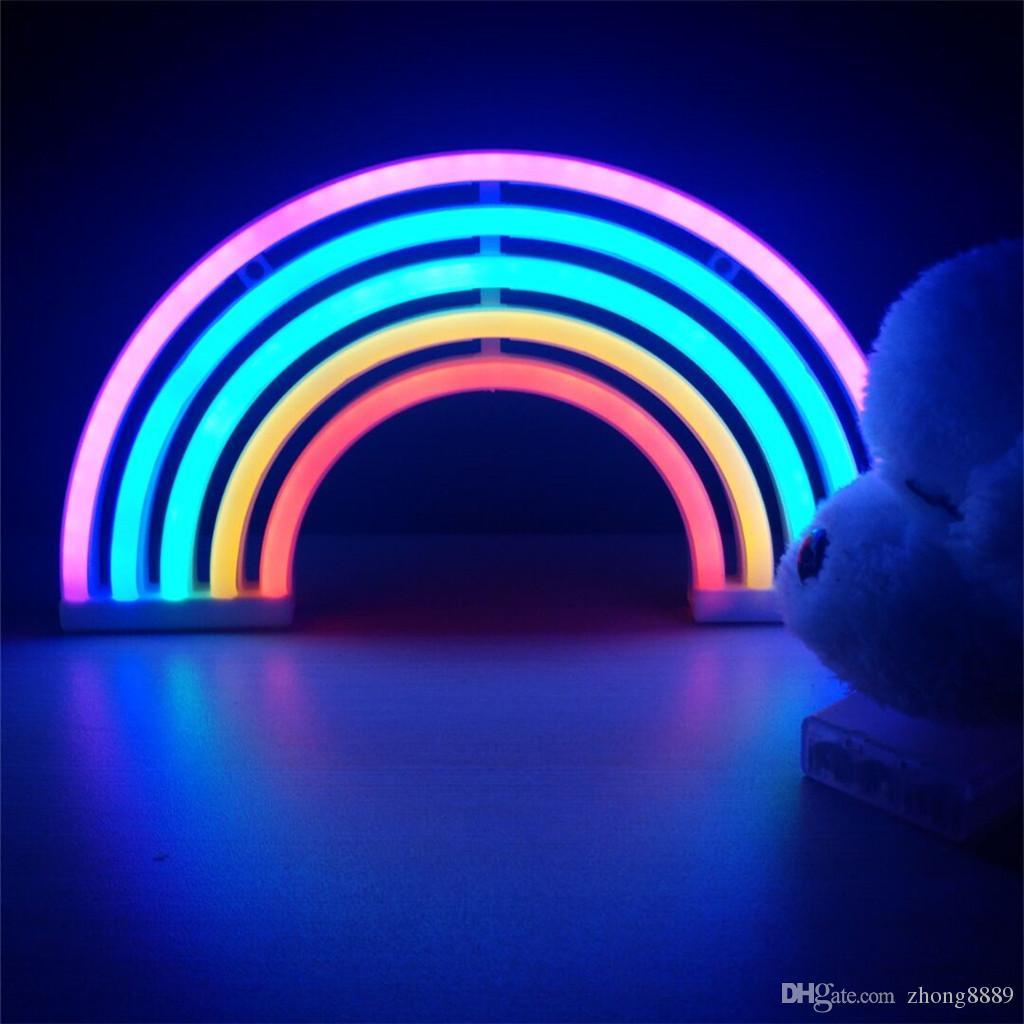 Compre Moda Colorido Rainbow Led Neon Luz Do Sinal Do