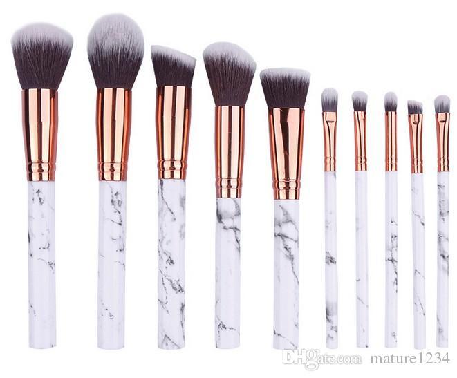 Marble Makeup Brushes Blush Powder Eyebrow Eyeliner Highlight Concealer Contour Foundation Make Up Brush Set