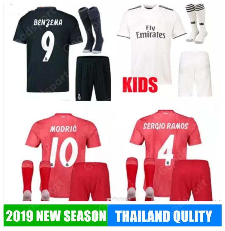 2019 Kid Kits Soccer Jerseys Modric Lucas Morata Bale Kroos Isco