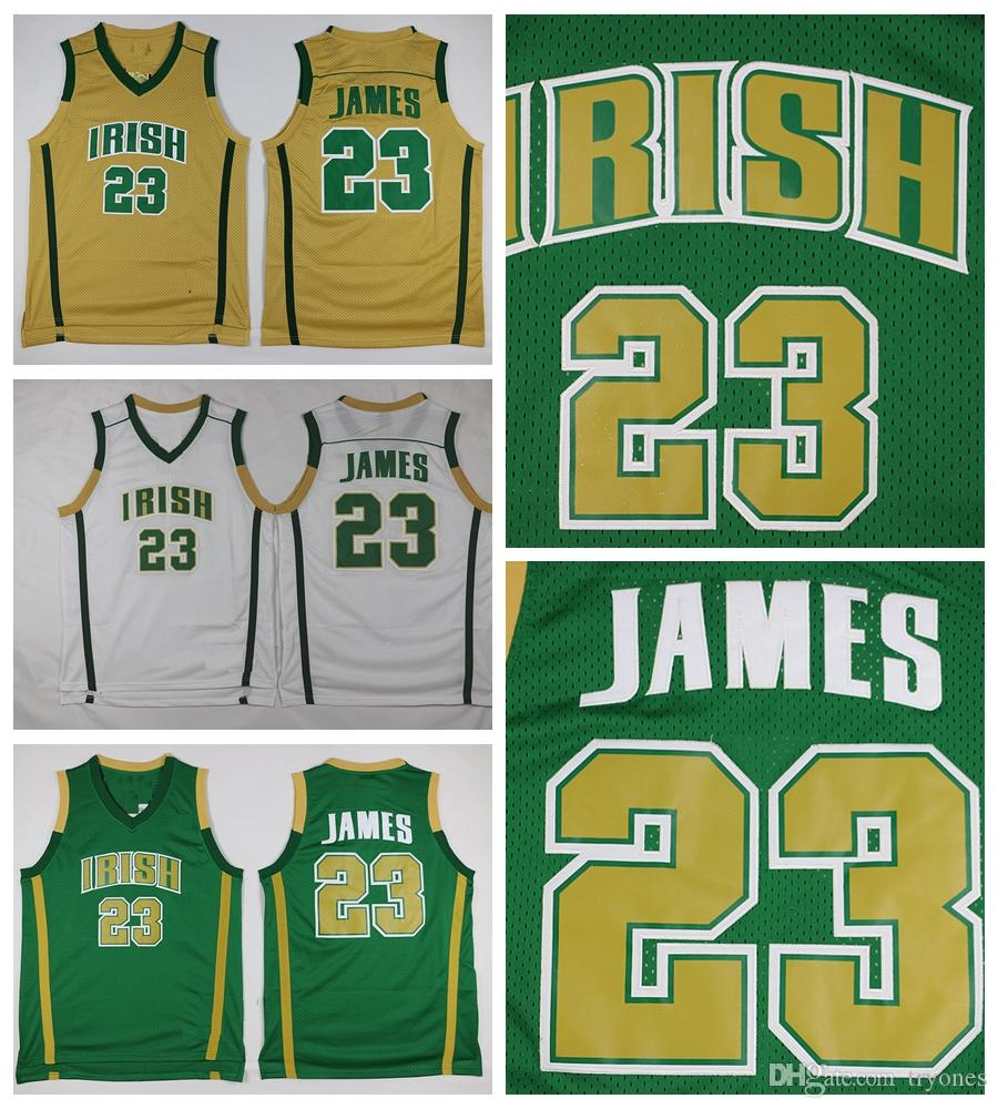 d0e06cdfdcc 2019 Mens LeBron James St. Vincent Mary High School Irish Jerseys  Basketball Shirts Vintage LeBron James  23 Stitched Jerseys Green Gold  Shirts From Tryones ...