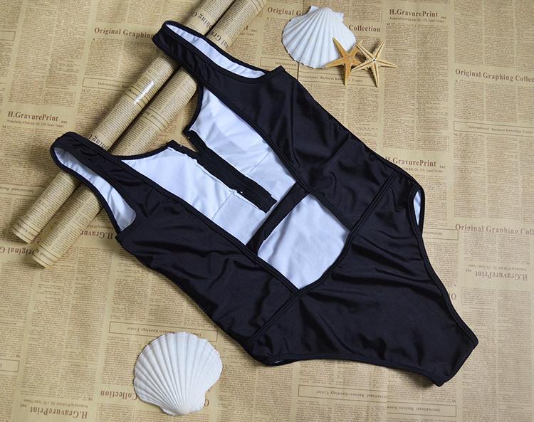Seksi Fermuar Ön Yüzmeye Monokini Tek Parça Mayo Suits Yaz Kadın Örgü Katı Artı Boyutu Mayo Bodysuit Maillot De Bain Femme