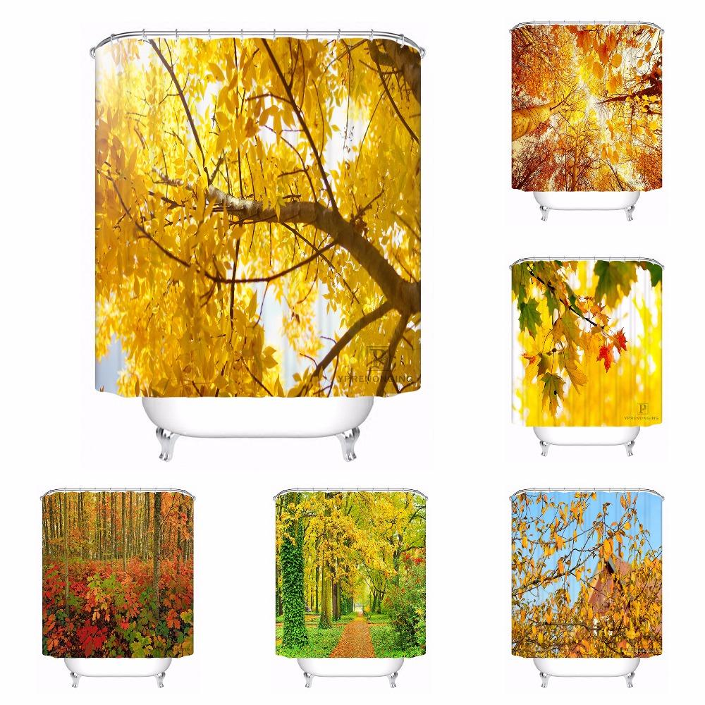 Custom Autumn Leaves Yellow Tree Waterproof Bathroom Acceptable Shower Curtain Polyester Fabric 180318 45 41 UK 2019 From Huayama