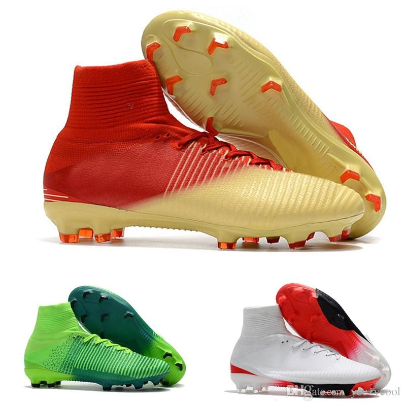 551bbf755d3 2019 2018 Men Women Mercurial Superfly CR7 V FG AG Football Boots Cristiano  Ronaldo High Tops Neymar JR ACC Soccer Shoes Soccer Cleats From Yeezycool