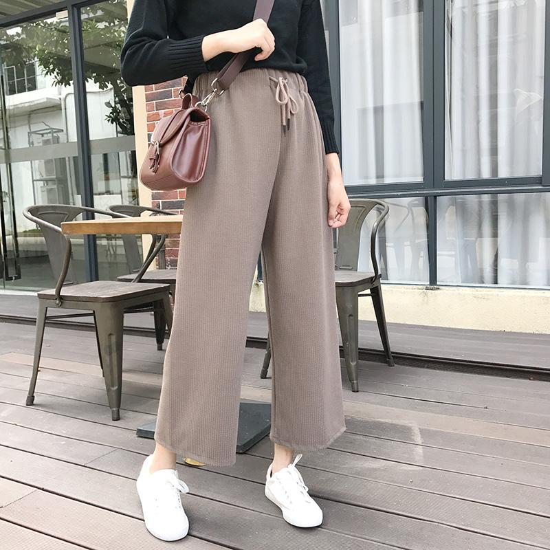 999958d47267 2019 2018 Autumn Winter Pants Women Korean Style Streetwear Casual Lace Up  High Waist Wide Leg Pants Khaki Black Ladies Trousers B281 From Worsted