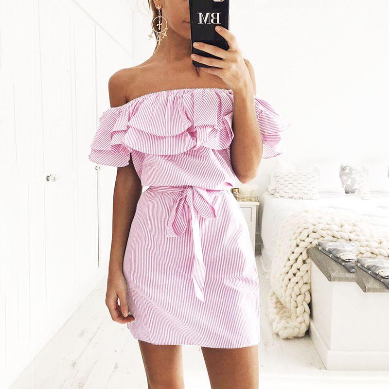 fbd3e2d293fe Off Shoulder Strapless Striped Ruffles Dress Women 2018 Summer Sundresses  Beach Casual Shirt Short Mini Party Dresses Robe Femme Brides Dress Summer  Evening ...