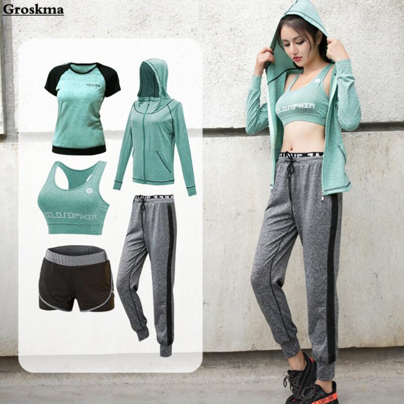 8bace4fc1ab38 2019 Women Yoga Set Sports Wear Gym Clothing Coats+T Shirt+Bra+Shorts+Pants  Womens Workout Running Ropa Deportiva Mujer From Ahaheng
