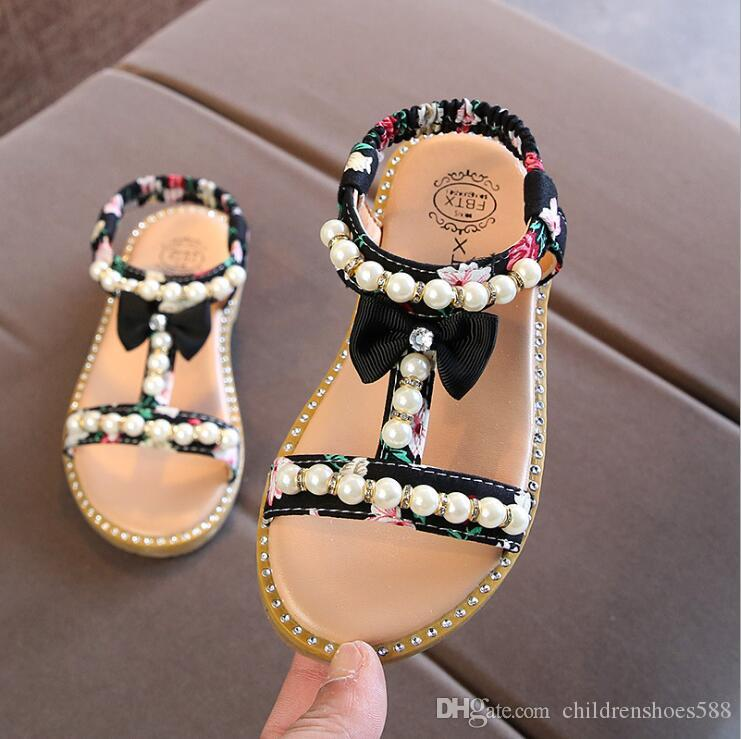 size 21-30 hot 2018 summer new Korean children's sandals girls open toe pearl Princess shoes small slip baby shoes