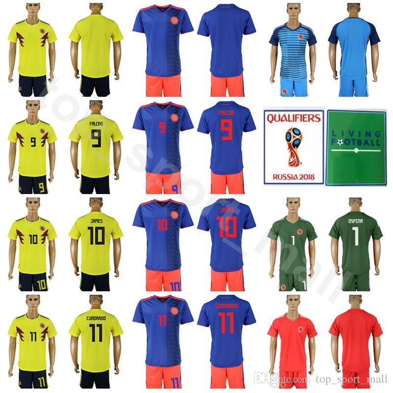 save off 5d548 0b860 Colombia Soccer 9 Radamel Falcao Long Sleeve Jersey Set 2018 World Cup 10  James Rodriguez 11 Juan Cuadrado Football Shirt Kits With Short