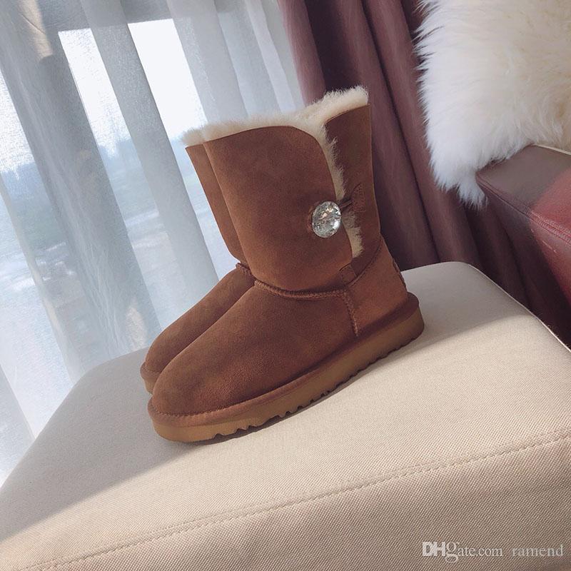 67210d595 Compre 2018 Invierno Cálido Piel De Cuero Real Y Lana Real Impermeable 19  Cm Alta Mujeres Botas De Nieve Suela De EVA Invierno Mujer Zapatos De Alta  Calidad ...