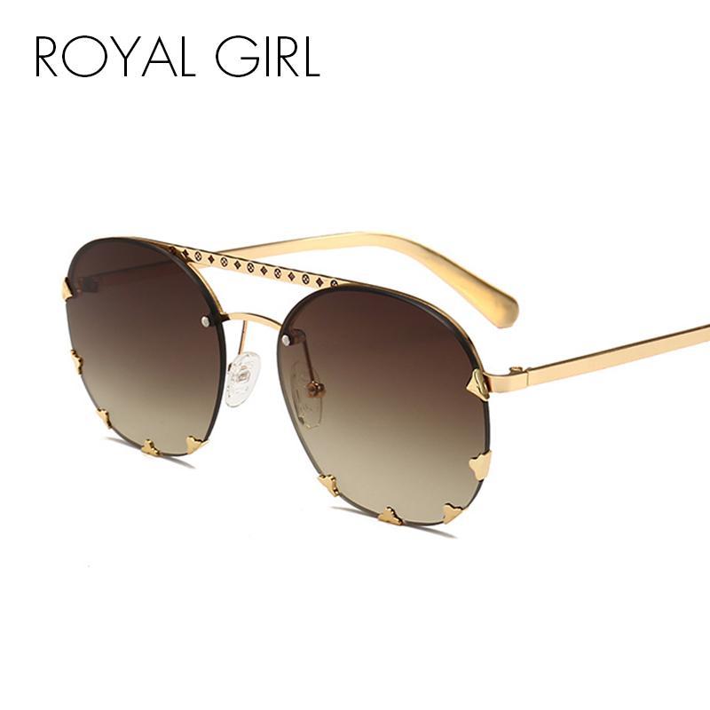 1cfe02ed81d ROYAL GIRL Vintage Rivet Sunglasses Women 2018 Newest Modern Fashion ...