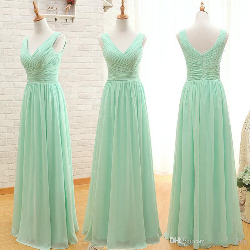 Mint Green Long Chiffon Brautjungfernkleid 2018 Günstige A Line Plissee Brautjungfernkleider Unter 100 3 Styles