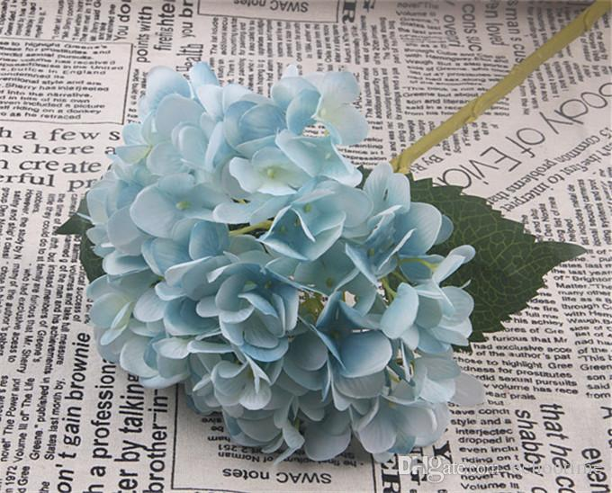 High Quality Artificial Hydrangea Flower Fake Silk Single Real Touch Hydrangeas for Wedding Centerpieces Home Party Decorative Flowers