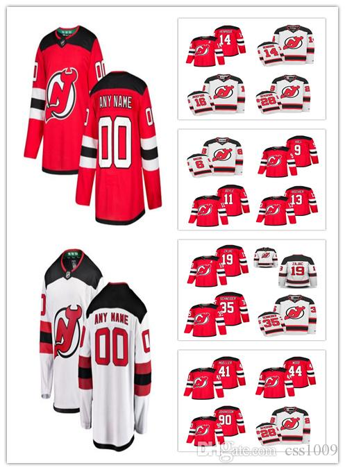 New Jersey Devils  19 Travis Zajac  44 Miles Wood  90 Marcus Johansson  1  Keith Kinkaid 2018 New Season Home Red Away White Hockey Jersey New Jersey  Devils ... 66aa39f45