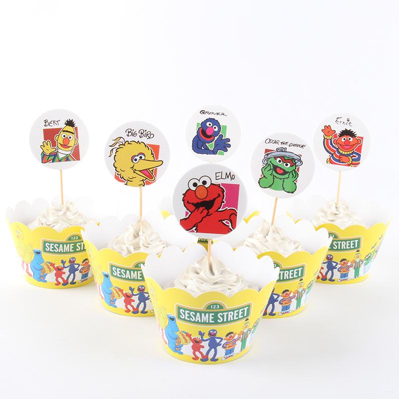Wholesale New Sesame Street Cupcake Wrappers Toppers For Kids Party Birthday Decoration Cake Cups12 Wraps 12 Topper