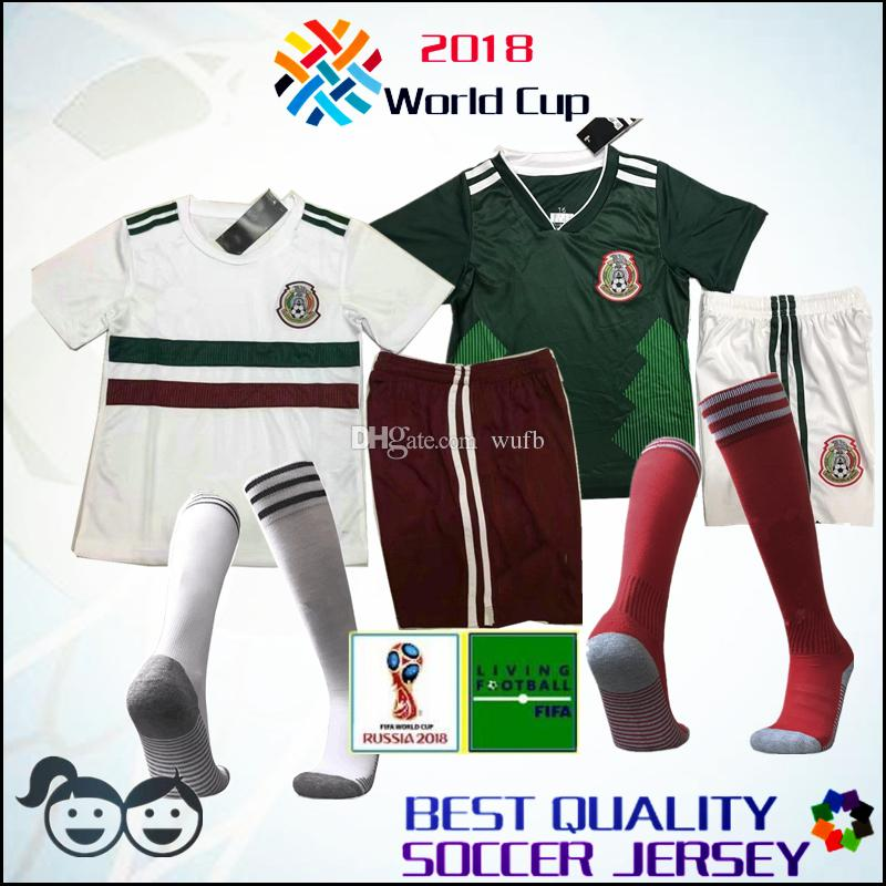 2019 2018 19 World Cup Mexico Kids Kit Soccer Jersey Socks Home Away Green  CHICHARITO M FABIAN G DOS SANTOS White Child Football Shirt From Wufb ef82ad58d