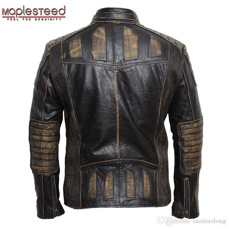Maplesteed Vintage Motorcycle Jacket Men Leather 100 Cowhide Genuine Jackets Mens Biker Coat Moto 5xl 090 Uk 2019 From Taoxiaolong