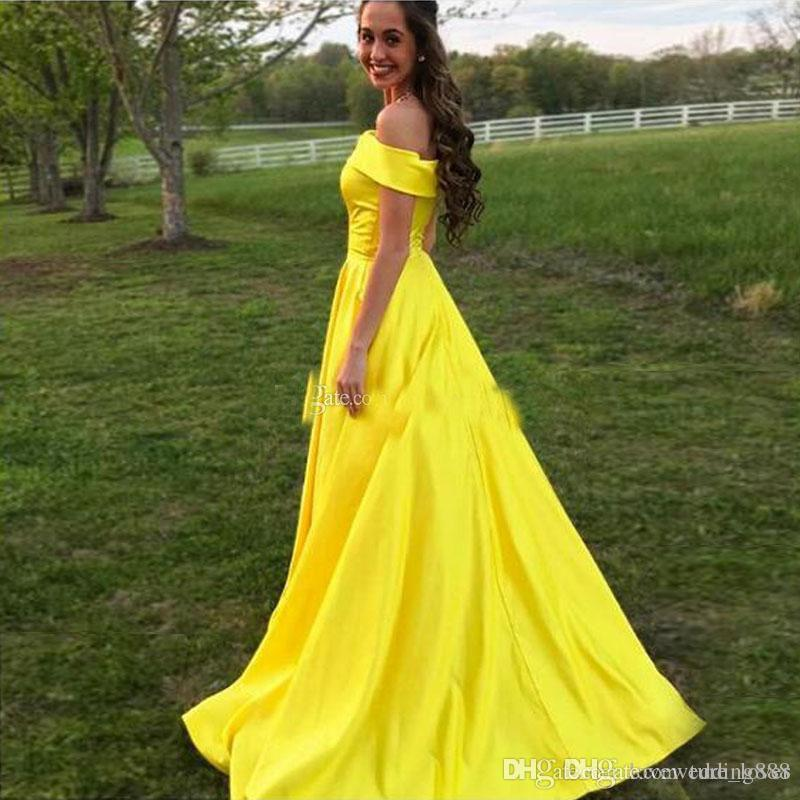 2018 Elegant Simple Satin A line arabic Prom Dresses Custom Made Off Shoulder Country Long Formal Party Dress Floor Length Prom Gown