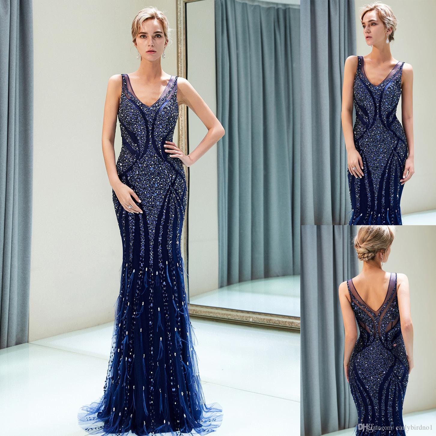 a2cf8a71edd Elegant Navy Blue Beaded Designer Evening Dresses Luxury Mermaid Straps V  Neck Floor Length Prom Ball Gown Wedding Guest Dress CPS1168 Shop Dresses  Online ...