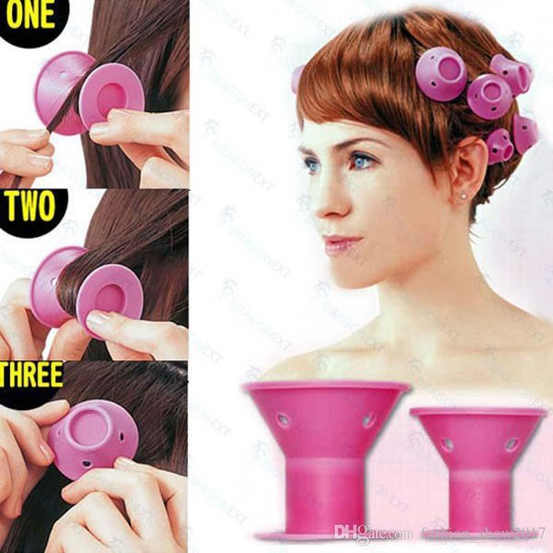 Bigodino di gomma morbida magica bigodino di capelli fai da te strumenti lo styling dei capelli viaggio casa uso strumento di bellezza trucco morbido silicone rosa bigodino