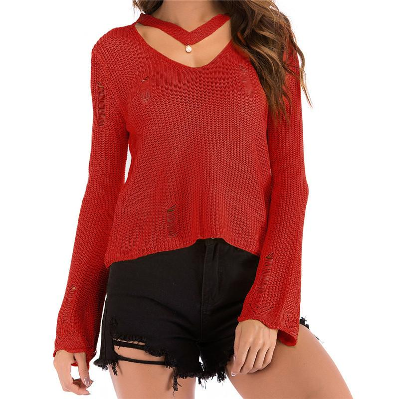 04fa2b1d8dac3 Halter Pullovers Streetwear Sweaters Women Rip Hollow Out Winter Jumpers  Plus Size Sexy Femme Long Sleeve Knitted Sweater M0141 Online with   41.97 Piece on ...