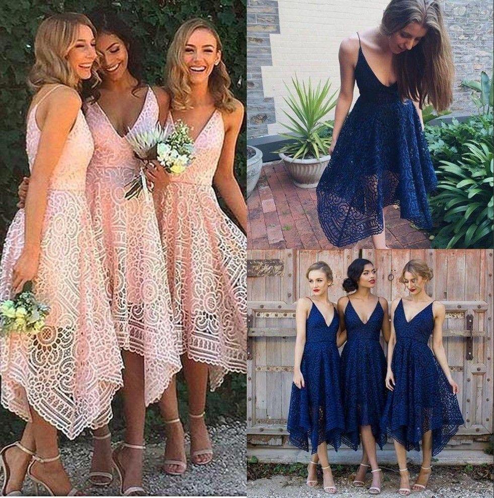 2f18a5923fc 2018 Elegant Lace Summer Beach Bohemia Bridesmaid Dresses Irregular Hem V  Neck Tea Length Maid Of Honor Country Wedding Guest Dresses BA4085  Bridesmaid ...