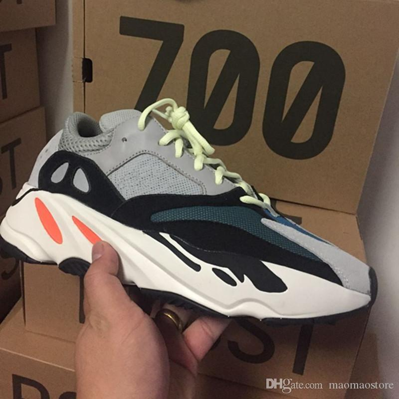 pretty nice 90afd 00055 Wave Runner 700 Kanye west Running shoes Solid Grey White Orange OG B75571  Men Women Running Shoes With Bottom and 3M Mater