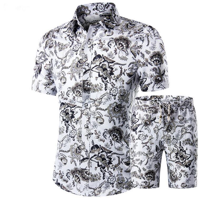 Männer Shirts + Shorts Set Neue Sommer Lässig Gedruckt Hawaiian Shirt Homme Kurze Männliche Drucksätze Plus Größe