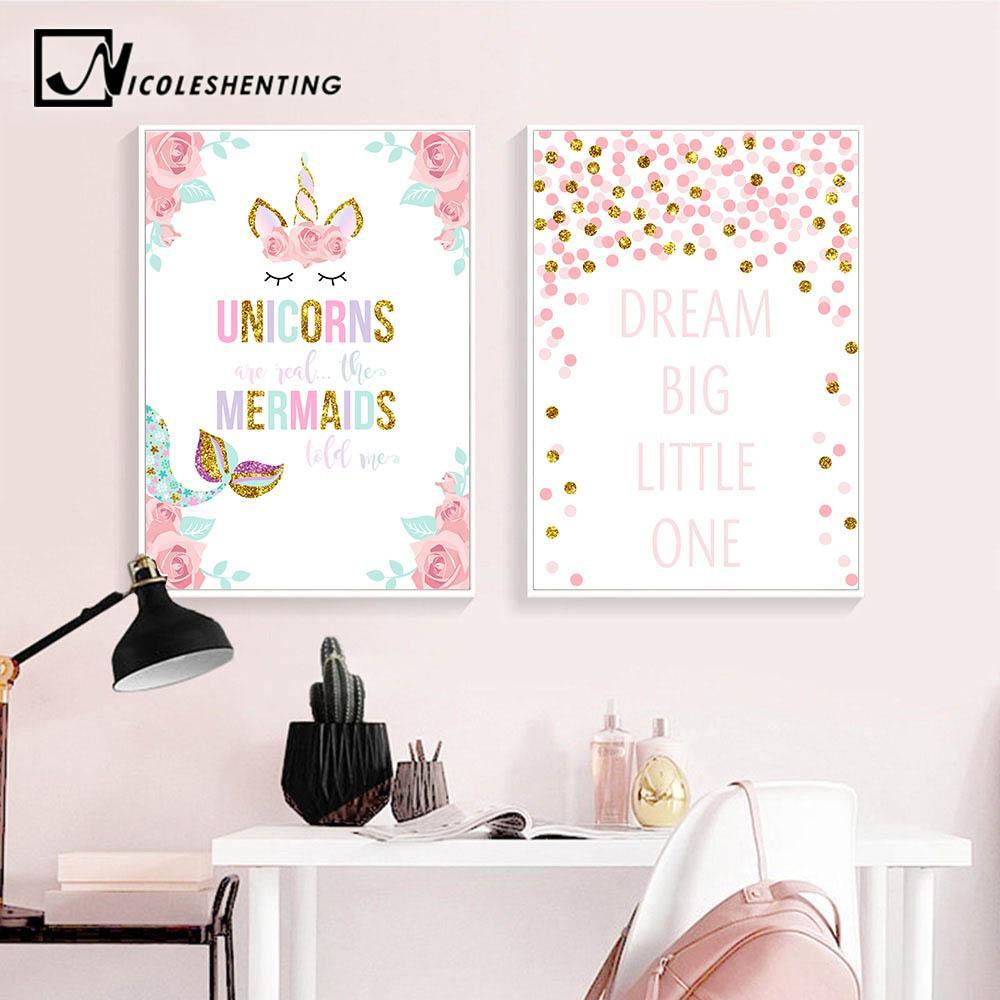 2019 Unicorn Flower Canvas Poster Wall Art Nursery Quotes Print