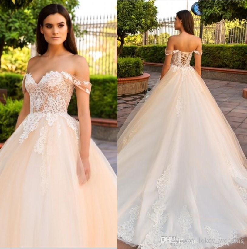 8a3f6c2e5e9 Discount Champagne 2018 Lace Wedding Dresses Off The Shouder Lace Up Back  Plus Size Cheap Bridal Gowns Sweetheart Neck Sweep Train Dubai Wedding Gown  ...