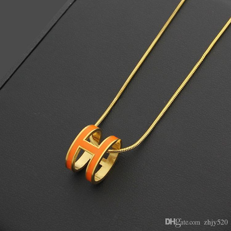 316L 티타늄 스틸 펜던트 목걸이 H 형 50cm 길이 쥬얼리 여러 색상 H 에나멜있는 송료 무료