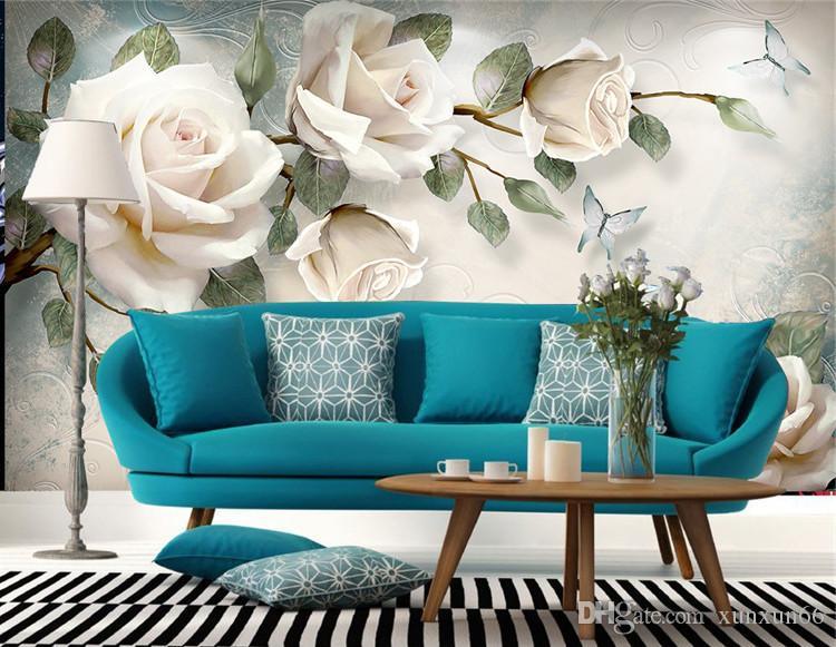 Fond d'écran Européen Blanc Rose Fleur Mural Photo Fonds D'écran Salon Papier Peint 3D papel pintado rolled papilles de papel de parede