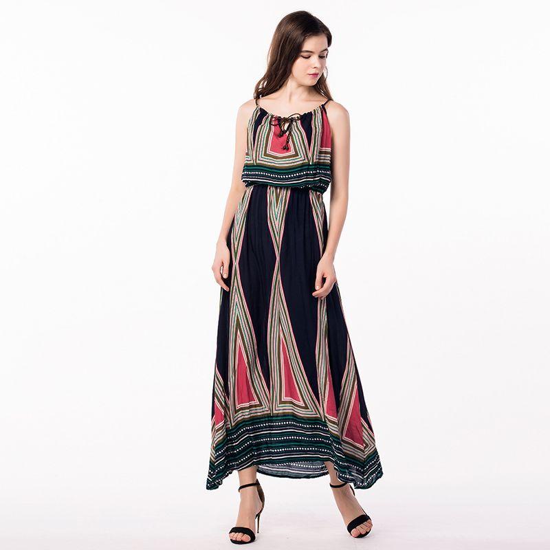 aaa76f7897 Compre Atacado Tailândia Vestidos Plus Size Mulheres Roupas Long Summer  Dress De Moussy