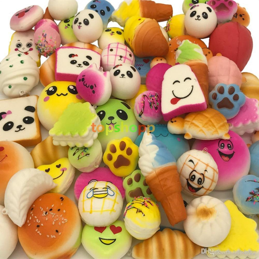 30 teile / los squishies spielzeug Langsam Steigenden Squishy Regenbogen süßigkeiten eis kuchen brot Erdbeere Brot Charme Telefon Gurte Weiche Frucht Spielzeug DHL