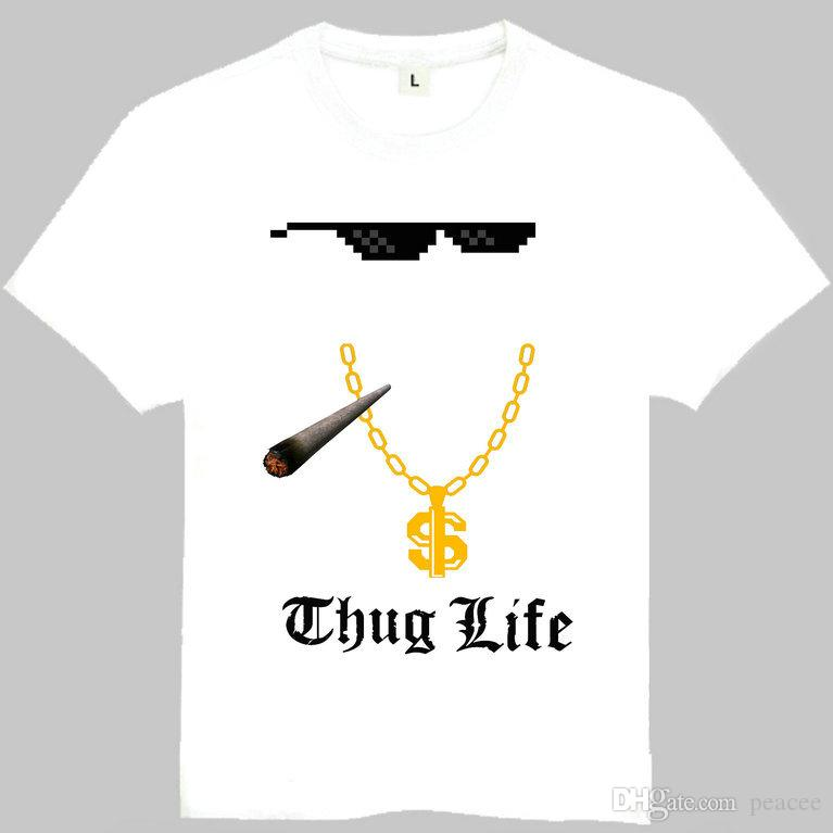 Thug Life T Shirt 2pac Word Short Sleeve Gown Cool Street Tees