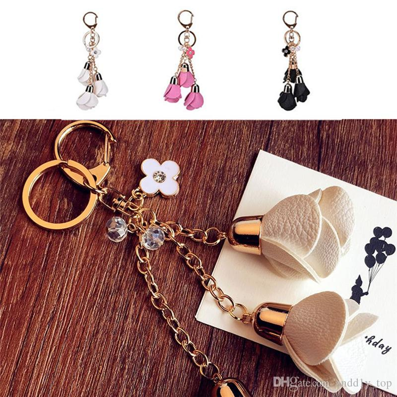 Keychains for Car Keys Men Couples Lovers Gifts Women Handbag Wholesale Rose Flowers Pendant Keychain Crystals Charms Set Souvenirs Mixed