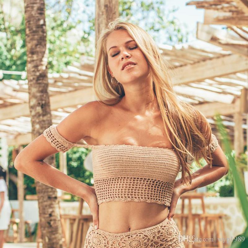955ecbf56c115 2019 Handmade Crochet Bikini Top 2018 Crop Top Swimsuit Women Mesh Swimwear  Sexy Thong Bikinis String Bathing Suits Brazilian Biquini From Wyp1989, ...