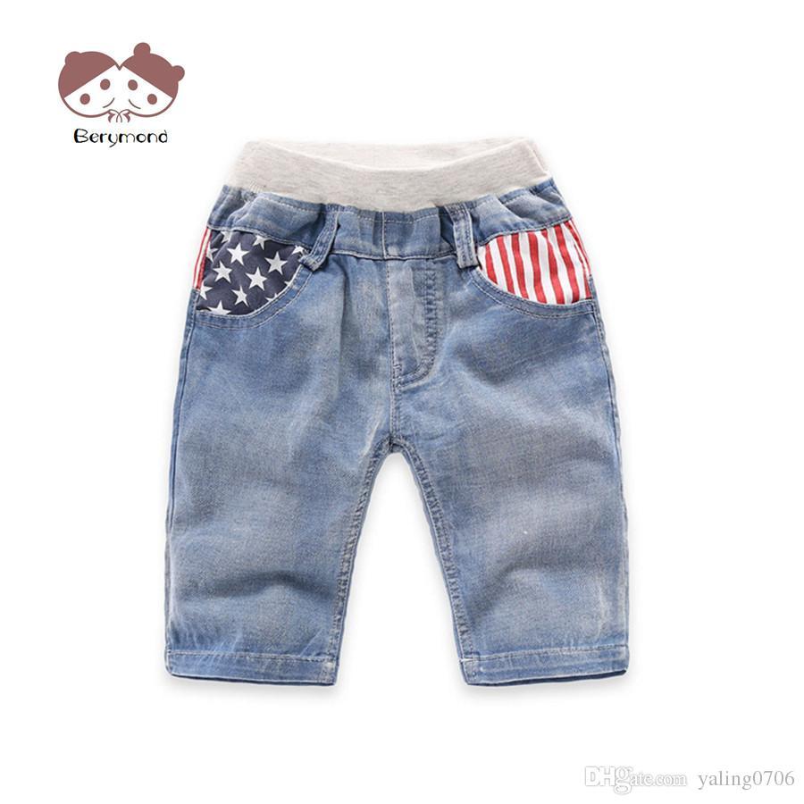 624a1f7aea 2-6T Baby Boy Jeans Shorts New Brand Summer Children Trousers Kids Shorts  Jeans Star Stripe Pattern Fashion Boys Denim Shorts