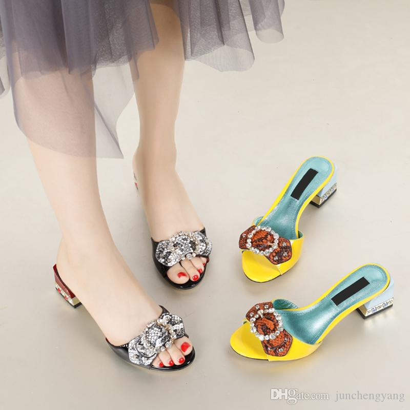 52818a4ade5 2018 Bowknot Rivets Mixed Color Chunky High Heel Ladies Slippers ...