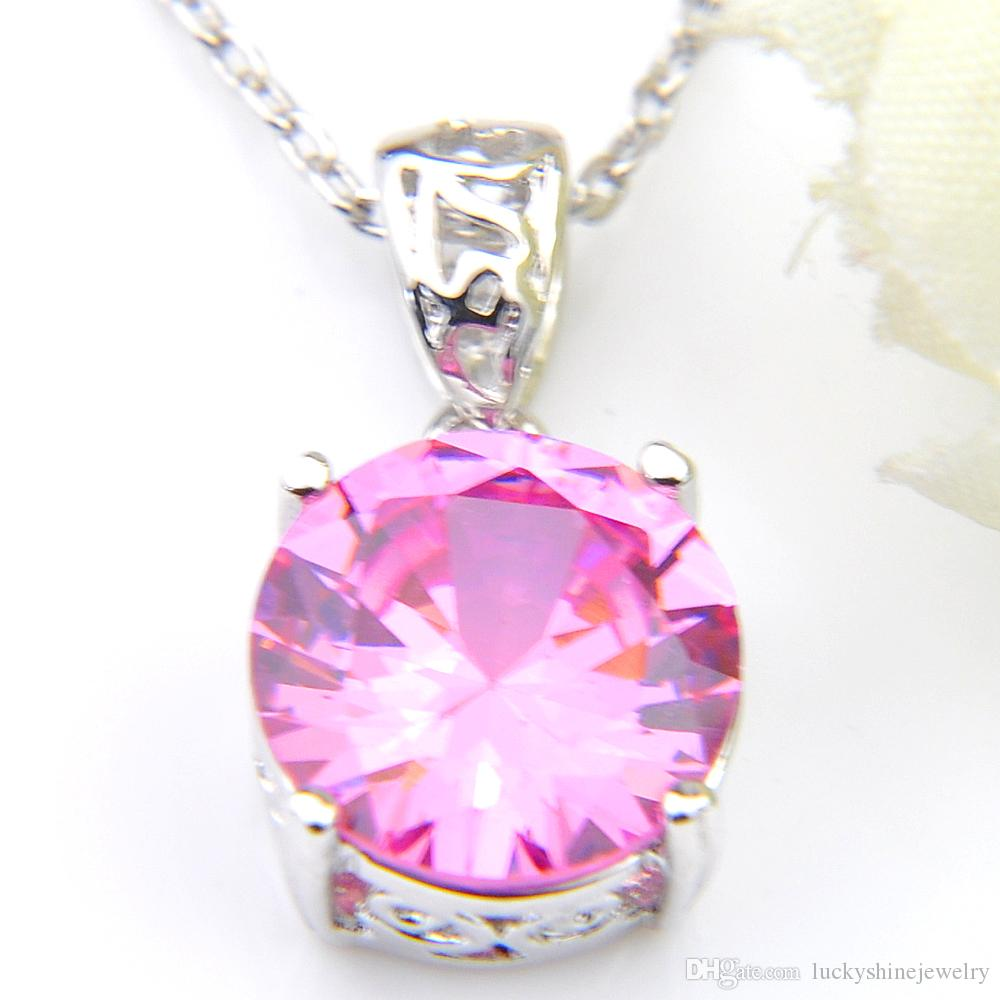 Luckyshine Excellent Shine Circular Fire Pink Topaz Cubic Zirconia Gemstone Silver Pendants Necklaces for Holiday Wedding Party