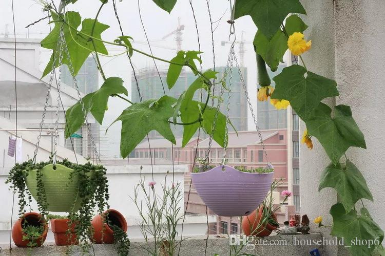 Hot Hanger Flower Pots Garden Plant Pots Garden Decor Resin Planters Round Plastic Plant Tray Random Color