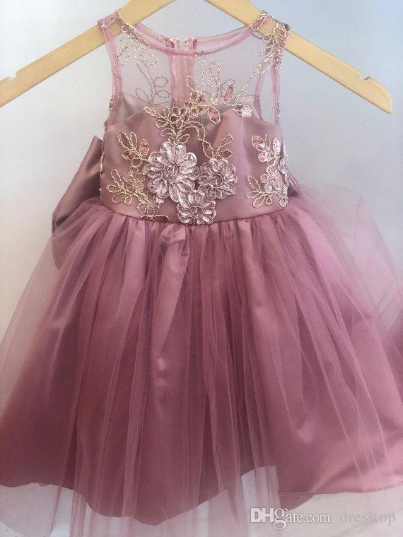 ced18305af2 Dark Pink Flower Girls Dresses Jewel Neck Zipper Back Toddler Pageant  Dresses Lovely Formal Kid Birthday Party Gowns With Bowknot Aqua Flower  Girl Dresses ...