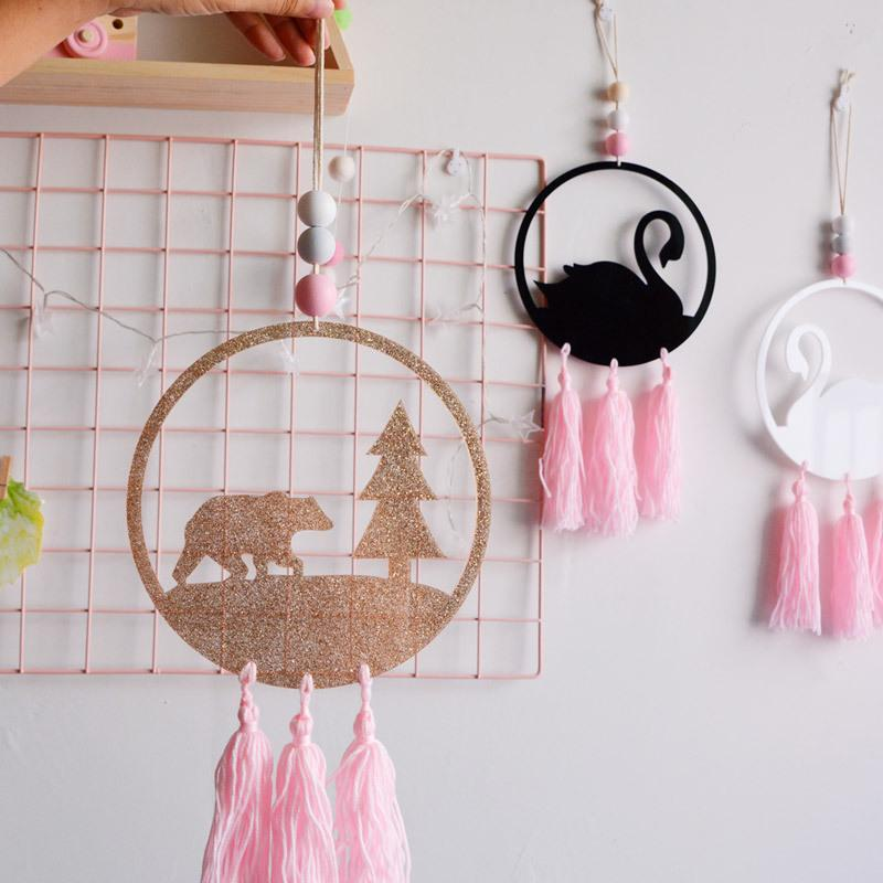 . Kids Room Decor Nordic Swan Flamingo Pendant Wooden Beads With Tassel Dream  Catcher Wall Hanging Toy Kid Birthday Christmas Gift