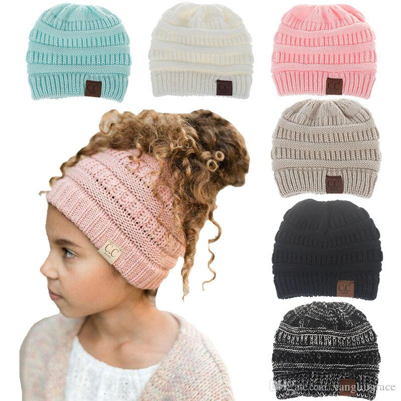 b956ca9db9c 2019 Winter Hats CC Beanie Warm Hat Knit Beanies Slouchy Hats For Girls Boys  Cute Knitted Skullies Cap Children Baggy Caps For Kids From Yangliugrace